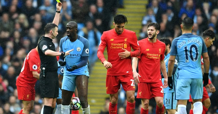 Yaya Toure: Booked against Liverpool