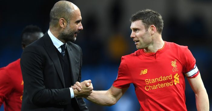 Pep Guardiola: Shakes hands with James Milner after draw