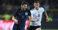 Adam Lallana: In action for England against Germany