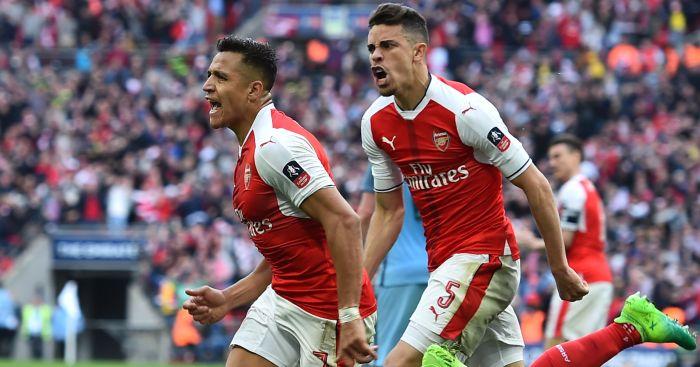 Alexis Sanchez: Celebrates his goal against Man City