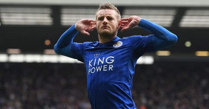 Jamie Vardy: Celebrates his goal against West Brom
