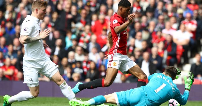 Marcus Rashford: Takes a tumble against Swansea