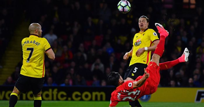 Emre Can: Scores with a stunning overhead kick