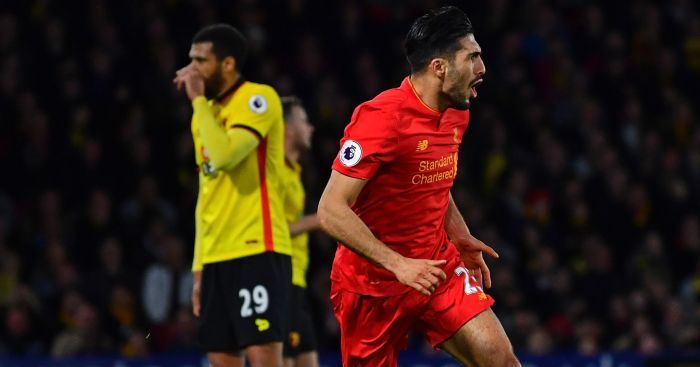 Emre Can: Celebrates his stunning winner v Watford
