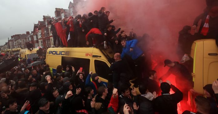 Another Champions League game in Anfield, another spate of violence.
