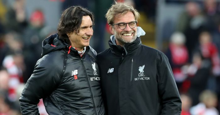 Was Liverpool's assistant manager tired of his Jurgen Klopp's frantic hugs?