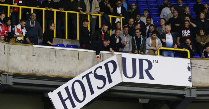 White Hart Lane: Arsenal fans rip down hoarding