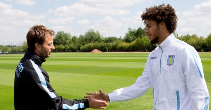 Tim Sherwood (l): Feels Rudy Gestede (r) can be vital for Aston Villa