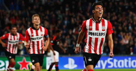 Hector Moreno: Celebrates his equaliser against Manchester United
