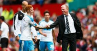 Jack Colback and Steve McClaren: Celebrate Newcastle's draw at Manchester United
