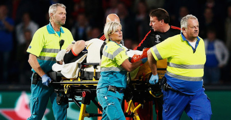 Luke Shaw: Manchester United man is stretchered off