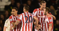 Peter Crouch: Celebrates his goal for Stoke at Fulham