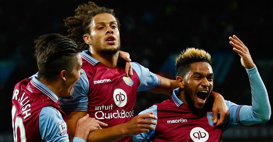 Rudy Gestede: Celebrates Aston Villa's winner against Birmingham