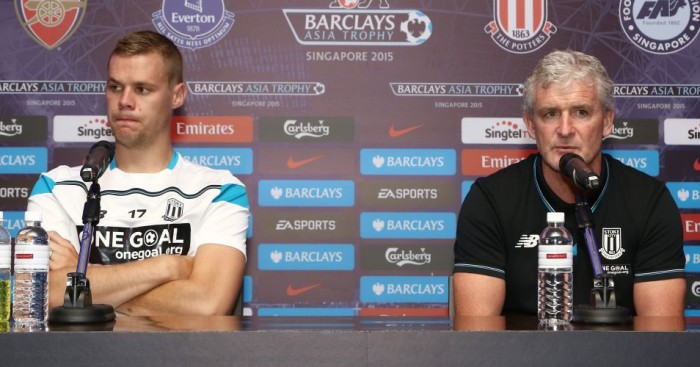 Mark Hughes (right): Hopes Ryan Shawcross will return for Stoke soon