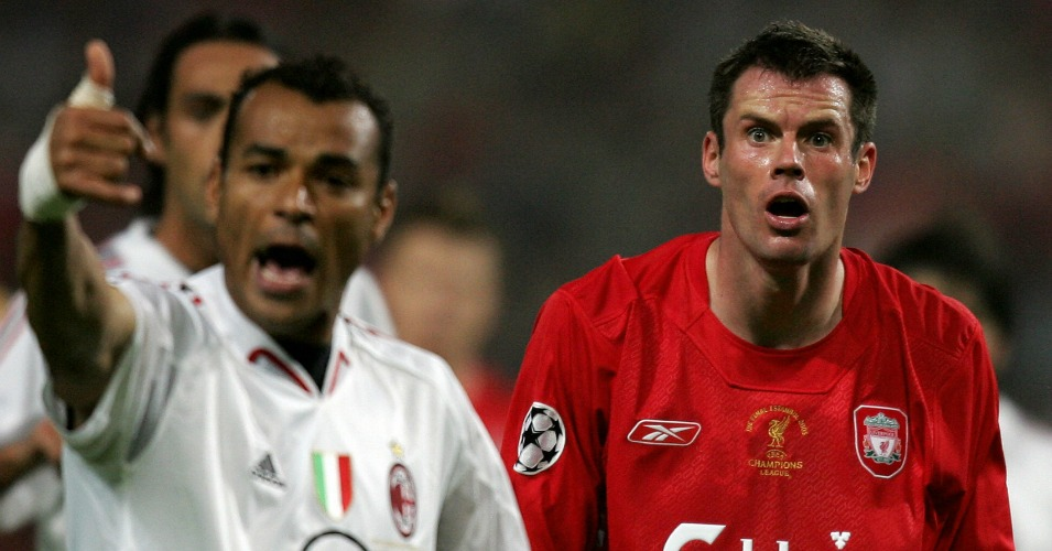 Cafu (l): Says AC Milan had already celebrated in the 2005 CL final before Liverpool's comeback