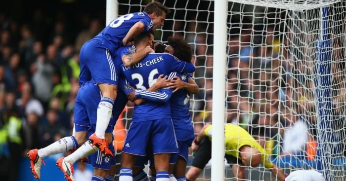 Chelsea: Celebrate goal against Aston Villa last weekend