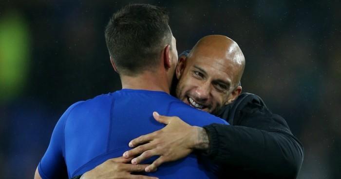 Tim Howard: Congratulates Joel Robles after Everton's shootout win