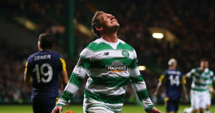 Kris Commons: Celebrates scoring for Celtic against Fenerbahce
