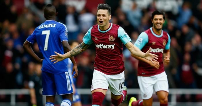 Mauro Zarate: Celebrates scoring for West Ham against Chelsea
