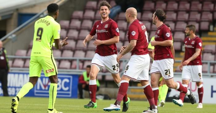 Shaun Brisley: Celebrates goal for Northampton Town
