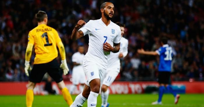 Theo Walcott: Celebrates scoring for England against Estonia