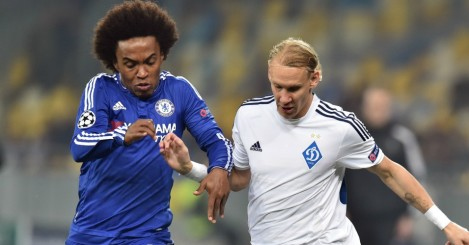 Willian: Battles for possession with Domagoj Vida