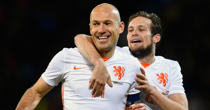Arjen Robben: Celebrates one of his goals with Daley Blind