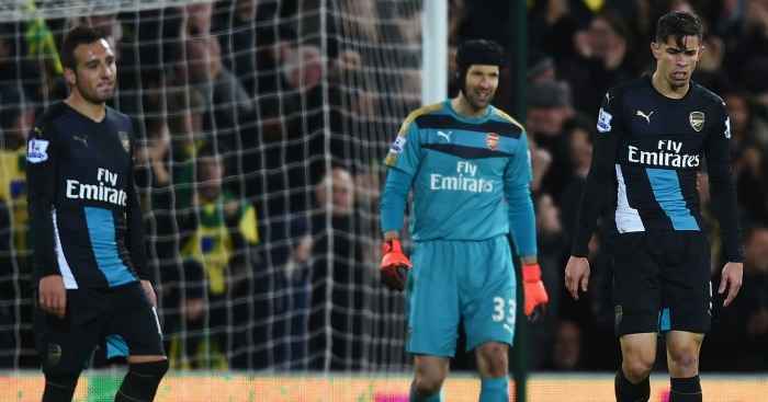 Santi Cazorla, Petr Cech and Gabriel: Look on after Norwich City's goal