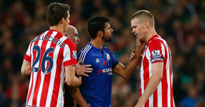 Diego Costa: Centre of the action during Chelsea's defeat at Stoke City