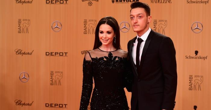 Mesut Ozil: Arsenal playmaker with partner Mandy Grace Capristo