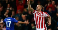 Marko Arnautovic: Celebrates his goal for Stoke against Chelsea