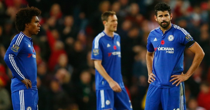 Willian and Diego Costa: Look despondent during Chelsea's defeat at Stoke City