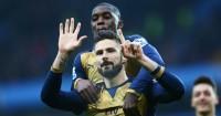 Olivier Giroud: Celebrates scoring Arsenal's first goal at Aston Villa