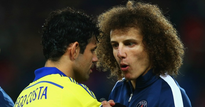 Diego Costa (l): Urged to sign for PSG by David Luiz (r)