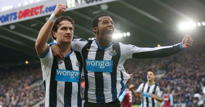 Georginio Wijnaldum: Celebrates scoring Newcastle United's second against West Ham