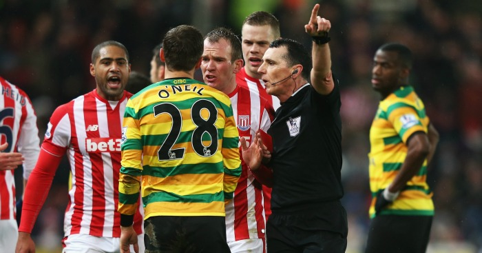 Gary O'Neil: Red card in Norwich City's defeat at Stoke City