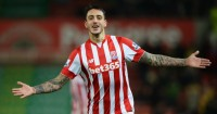 Joselu: Celebrates scoring in Stoke City's win over Norwich City