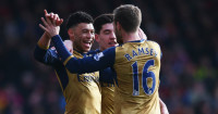 Alex Oxlade-Chamberlain: Celebrates Arsenal's second