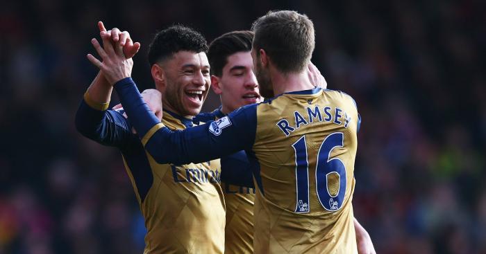 Alex Oxlade-Chamberlain: Celebrates Arsenal's second