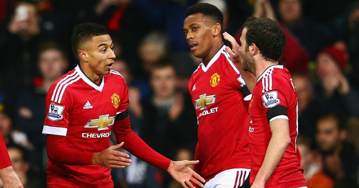 Anthony Martial: Celebrates United's second of the night