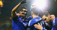 Diego Costa (l): Celebrates his opener