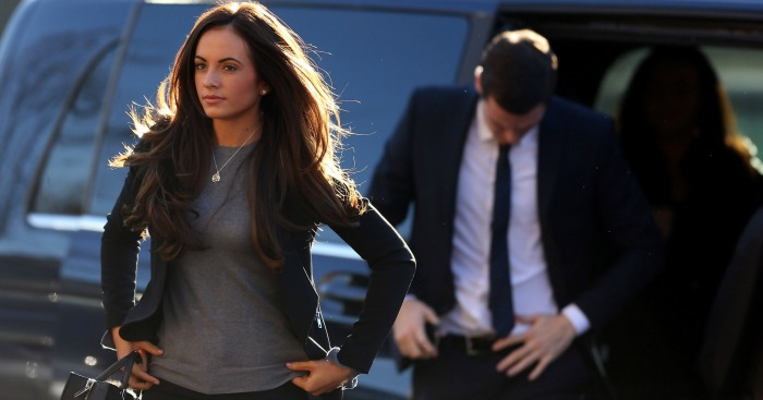 Adam Johnson: Arrives at court with partner Stacey Flounders