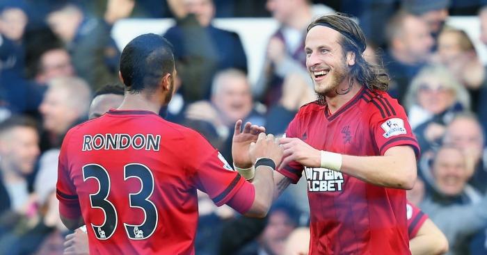 Salomon Rondon: Celebrates his goal with Jonas Olsson