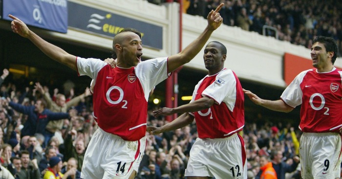 Thierry Henry: Celebrating his goal against United