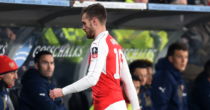 Aaron Ramsey: Limped off with thigh injury