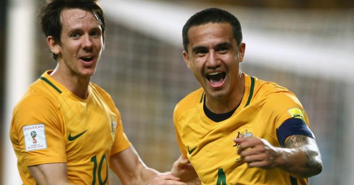 Tim Cahill: Celebrating his goal for Australia