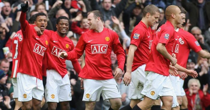 Nani Celebrates The Third Against Liverpool