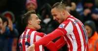Xherdan Shaqiri: Celebrates with Marko Arnautovic