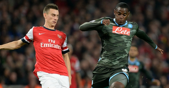 Duvan Zapata: In action against Arsenal in 2013