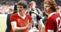 Emlyn Hughes and David Fairclough: Liverpool icons lift the trophy